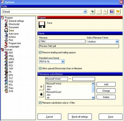 Opzioni PDF Creator